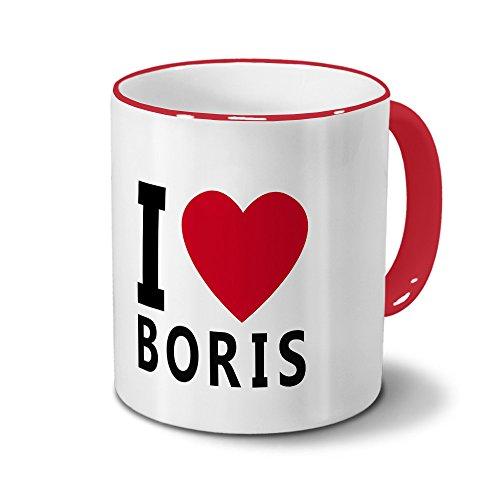 printplanet Tasse mit Namen Boris - Motiv I Love Boris - Namenstasse, Kaffeebecher, Mug, Becher, Kaffeetasse - Farbe Rot