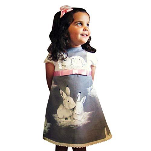 YWLINK MäDchen Spitze Patchwork Kurze ÄRmel A Line Kleiden Ostern Tag Kaninchen Drucken Kleidung Kleinkind Baby Abendkleider (Grau,100)