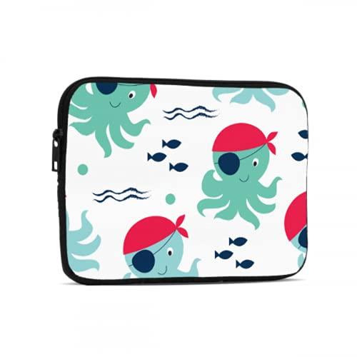 Estuche de Transporte para computadora portátil Caricatura Lindo Animado Infantil Fun Octopus Fundas para Tableta compatibles con iPad 7.9/9.7 Pulgadas Bolsa Protectora de Tableta de Neopreno a PRU
