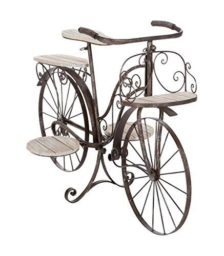 Bicicleta porta plantas decorativa - Jardinera de madera de roble y hierro forjado para el jardín, la terraza o interiores.
