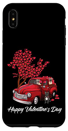 iPhone XS Max Red Truck Happy Valentines Day French Bulldog dog hearts Case