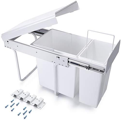 Homewit 30L versteckter Mülleimer, W262* D490* H420 mm ausziehbarer metaller Küchenabfalleimer, 2 Abfalleimer für Mülltrennsysteme, 10L+20L Einbaumülleimer, Deckelheber, Bodenmontage, Für Küche