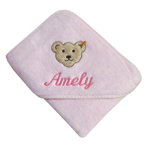 Steiff 2928mn2560 Baby Kapuzentuch mit Ihrem Wunsch-Name Bestickt rosa 100 cm x 100 cm