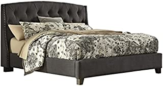 Ashley Furniture Kasidon Tufted Fabric Upholstered Queen Bed in Gray