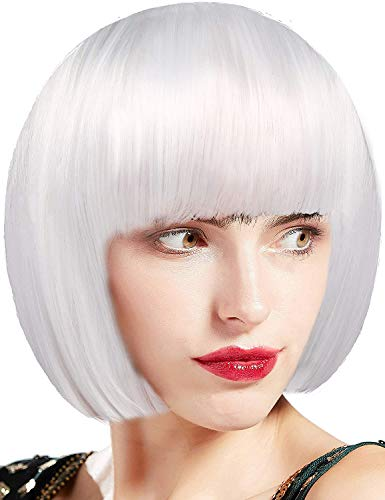 Short Bob Pure White Cosplay Wig Costume Hair for Party Natural As Real Hair 12''with Wig Cap Short Fluffy Bob Kinky Straight Hair Wigs