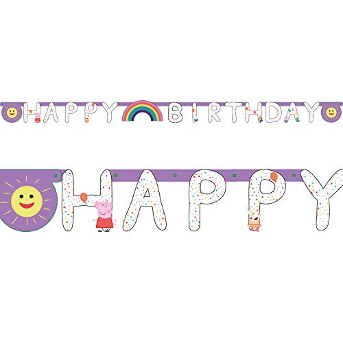 NET TOYS Guirnalda de cumpleaños Peppa Pig - 23,4 - Tierna decoración cumpleaños Infantil Guirnalda de Fiesta Peppa Pig cumpleaños y Fiestas Infantiles