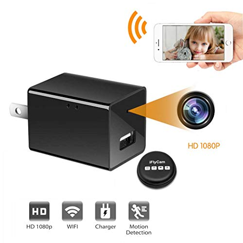 Cinati Spy Camera Wall Charger, Wireless Mini Nanny Hidden Camera, 110°Wide-Angle 1080P HD Camera (Surveillance Apps for iOS/Android/PC/Mac), No Audio