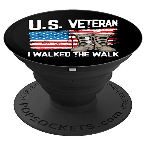 I Walked The Walk - US Veteran American Flag PopSockets Grip and Stand for Phones and Tablets