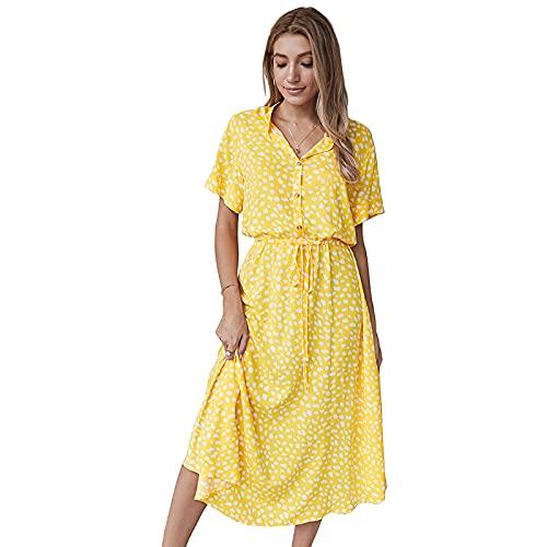 Camisa de Manga Corta de la Camisa de Manga Corta del Lunar del Verano de Las Mujeres Falda de Cuello,Amarillo,L