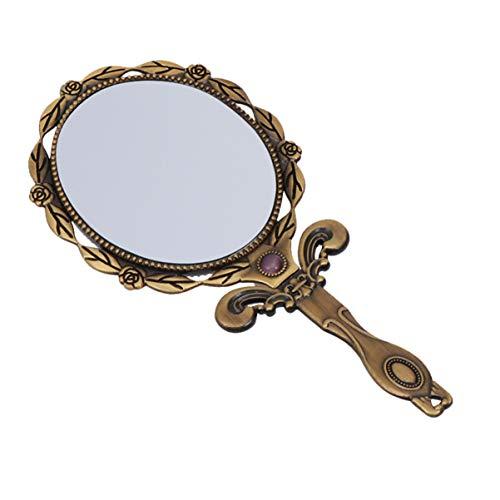 Frcoloror - Specchio da tavolo vintage con manico in rilievo, motivo floreale antico, da viaggio, pieghevole, colore: Bronzo