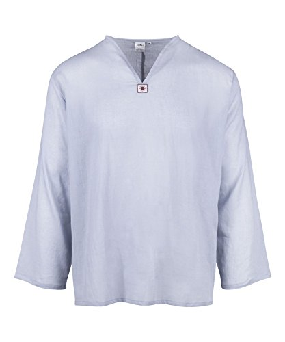 LOFBAZ T-Shirt for Men Beach Shirts Mens Hippie Clothing Yoga Tunic Pirate Clothes Summer Vest Renaissance Indian Kurta Long Sleeve Light Grey Medium