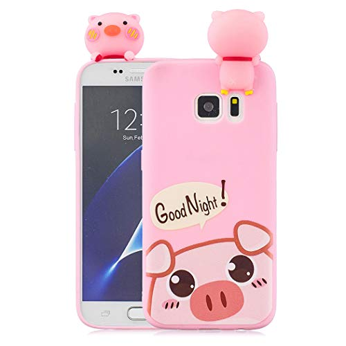 Leton Cute Samsung S7 Edge Case Soft Silicone for Girls Kids Women Slim Thin 3D Cartoon Animals Shockproof Rubber Phone Case Cover for Samsung Galaxy S7 Edge Pink Pig