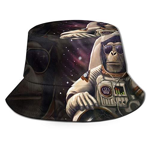 Gafas de sol de astronauta de Orangutan en galaxia, unisex, diseño de cubo de viaje, gorra de pescador, color negro