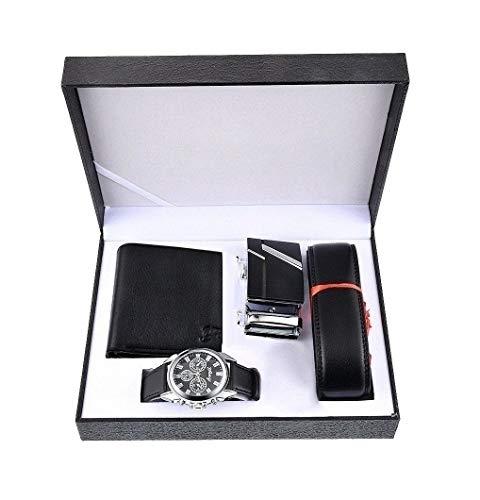 Souarts - Set da uomo con cintura in pelle sintetica, orologio da polso analogico al quarzo e portafoglio - colore: nero