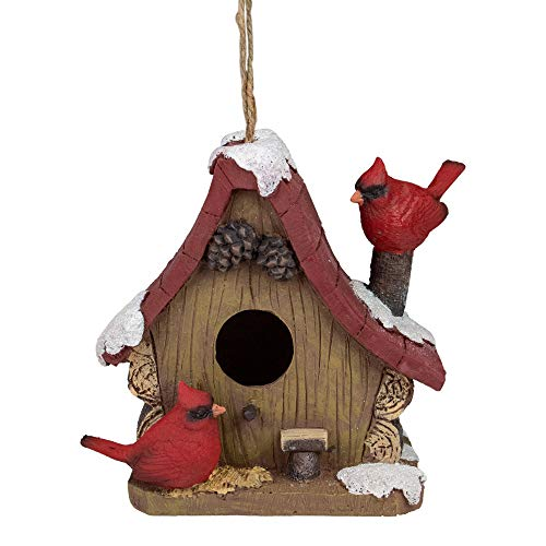 Northlight 7' Brown and Red Christmas Birdhouse with Cardinals