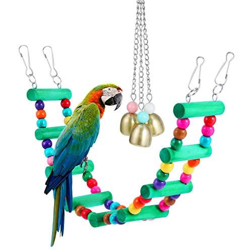 Yowablo Haustier-Vogel, der Schwingenspielzeug-Vogelkäfig-Anhänger-Kauspielzeug-Bunte Brücke mit Glocke hängt (33 * 6cm,Mehrfarbig)