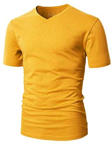 H2H Mens Slim Fit Pure Color Short Sleeve Polo Casual T-Shirts Mustard US M/Asia L (CMTTS0197)
