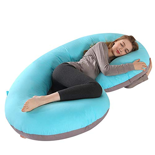 Yumanluo Almohadas Embarazo para Dormir de Lado,Almohada Lateral Protectora de Cintura-Algodón Puro S_140x70cm,Cojin Lactancia - Almohada de Maternidad