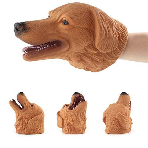 VVV Niños Cabeza de Animal Marioneta de Mano Suave Niños Figura de Perro de Juguete Modelo Realista Cabeza de Animal de Historias