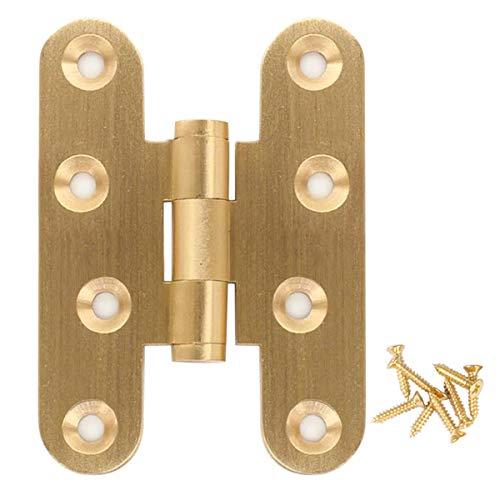 2 bisagras de puerta latón pulido, bisagras de cajón de gabinete , bisagras lisas sólidas para puertas de estar, puertas de roble (longitud 60 mm de latón)
