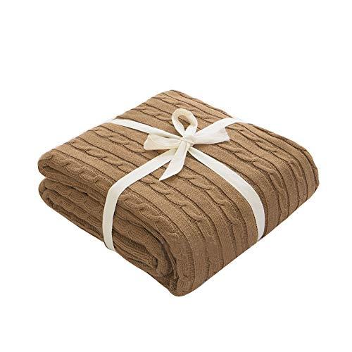 Súper Suave Cálida Manta de Punto Gruesa Cobertura para sofá Cama de Silla Decorativa Ligero café 180 * 200cm