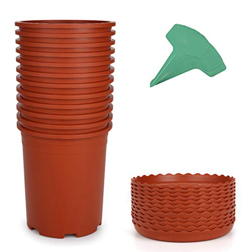 GROWNEER 12 Packs 1 Gallon Nursery Pot Garden Flower Pots Nursery Plant Container Kit with 12 Pcs Matching Pallets and 15 Pcs Plant Labels Brick Red