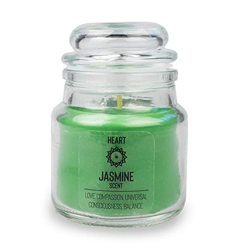 Myga RY1298 Scented Chakra Candle Heart with Jasmine Scent - Wax Soybean - Love, Compassion, Universal, Consciousness and Balance - Green