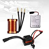 F540 4370KV Brushless Motor 4 Pole 9T 3.175mm Shaft with 60A ESC Electric Speed Controller and Programming Card Motor ESC Combo Set for 1/10 RC Car Flat Drifting Car 2S Lipo Battery