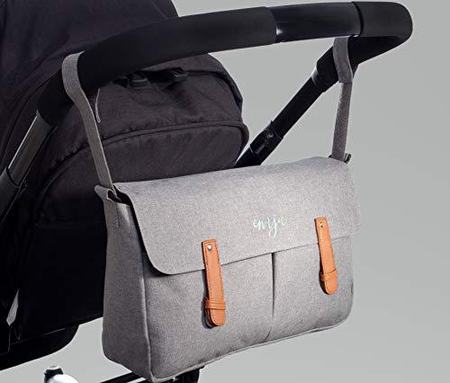 Kinderwagen-Organizer von EMJA I Premium Buggy-Tasche grau mit Reißverschluss I Perfekte Aufbewahrungstasche mit Karabiner-Haken zum umhängen I Deluxe Wickeltasche wasserdicht