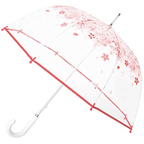 Kung Fu Smith Pink Flower Clear Bubble Umbrella for Girls, Auto Open Stick Rain Umbrella with White Leather Handle