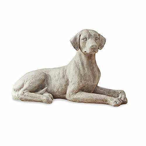 Loberon Hund Socrate, Polyresin, H/B/T 39/70,5/32 cm, antikweiß