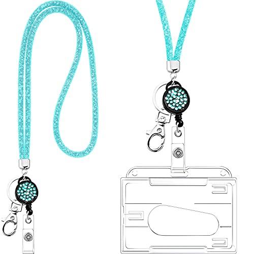 Collar de Cordón de Cristal con Tarjetero Transparente y Llavero, Cordón de Cristal de Diamantes de Imitación Brillante Soportes de Insignias Transparentes y Correa de Cuello (Azul)