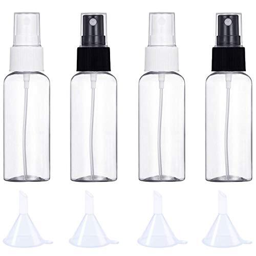 Botellas de viaje, 30 ml, atomizador transparente vacío para el hogar, set de 4 botellas de spray cosméticos.