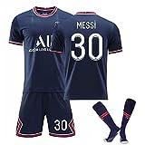 Messi Jersey Kit Camisetas De Fútbol - No.30 Jersey Camisetas Y Pantalones Cortos De Entrenamiento Deportivo para Adultos Y Niños, Regalos para Familiares Y Amigos, Azul,A,22#