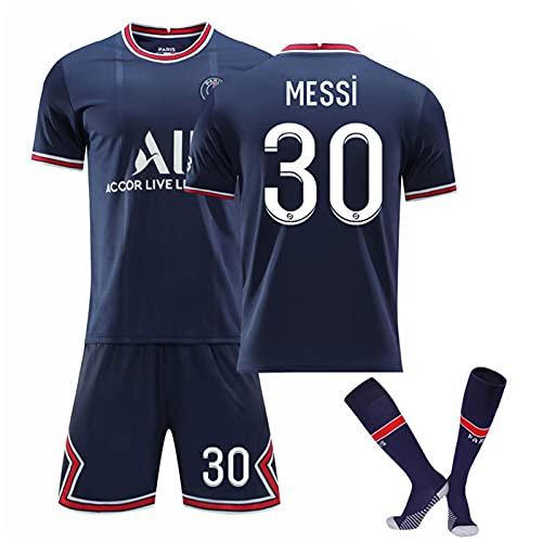 Messi Jersey Kit Camisetas De Fútbol - No.30 Jersey Camisetas Y Pantalones Cortos De Entrenamiento Deportivo para Adultos Y Niños, Regalos para Familiares Y Amigos, Azul,A,XL