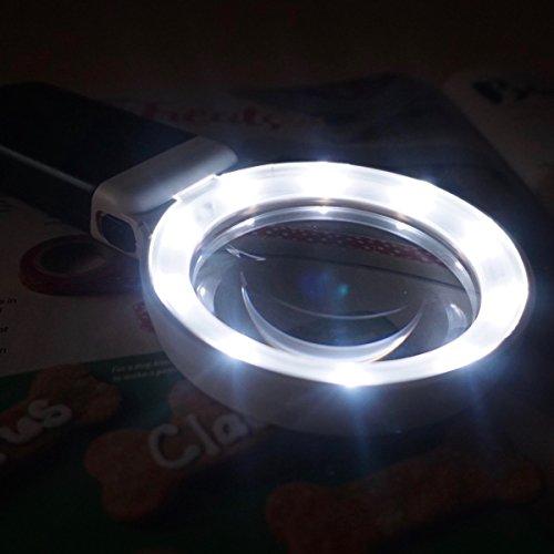 Fancii 10 LED Licht Beleuchtete Lupe mit Ständer, 2X 4X Große Leselupe Tischlupe Vergrößerungsglas mit Beleuchtung für Senioren Lesen, Inspektion, Löten, Handarbeiten, Reparatur & Hobby - 6