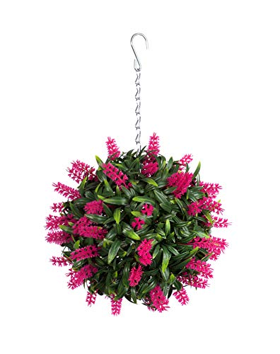 Best Artificial (TM) Suspension boule de lavande artificielle avec longues feuilles d'un vert luxuriant Protection anti-décoloration contre les rayonnements du soleil Rose 24cm