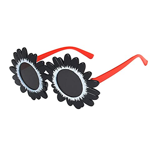 WQZYY&ASDCD Gafas de Sol Cute Daisy Gafas De Sol con Montura Redonda Sunflower Shadow Lenses-Black