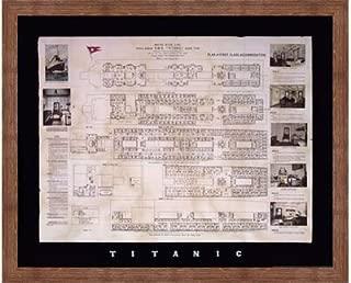 Framed Titanic Deck Plan- 30x24 Inches - Art Print (Brown Barnwood Frame)