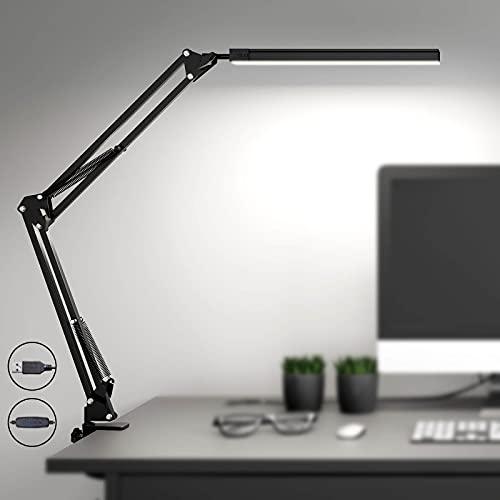 Lámpara de escritorio LED SKYLEO con abrazadera,luz de lectura regulable para el cuidado de los ojos,lámpara de brazo oscilante de 3 modos de color,lámpara de mesa con clip USB,lámpara de luz diurna