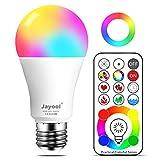 Jayool 10W E27 120 Couleurs LED RGBW Ampoule Changement de Couleur Télécommande (3ème génération), Timing et Dimmable RGB+lumière du Jour Blanc(6500K) Edison Screw (Lot de 1)