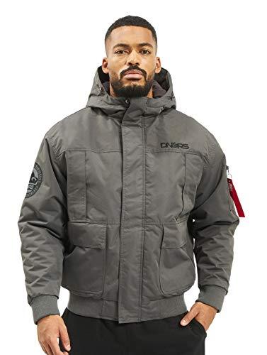 EGOMAXX DNGRS Herren Winterjacke Hoodie Bomberjacke Grenadier Warm, Farben:Grau, Größe Jacken:S