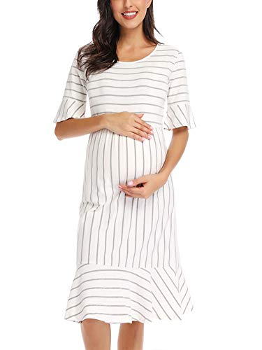 Love2Mi Women's Striped Maternity Wear Dress Ruffle Trim Bell Sleeve Hi-Low Midi Dresses
