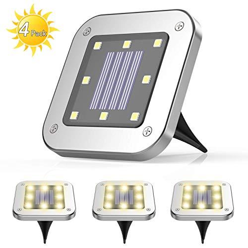 4 Pezzi Luce Sepolta Solare,AGPTEK 8 LEDS lampade da giardino solari da terra,IP65 Lampada Solare da Terra con Batteria 600mAh Per Giardino, Scala,Paesaggio,Strade,Prato,Vialetto Caldo