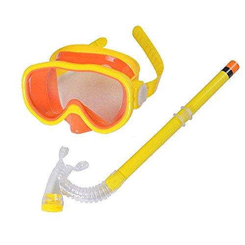 Smolisi Kids Youth Water Sports Silicone Scuba Swimming Swim Diving Mask Snorkel Glasses Anti Fog Goggles Set(Yellow)