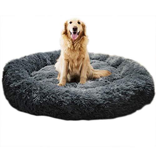 KongEU Deluxe weich Hundebett Sofa waschbar Rundes Plüsch Hundekissen Katzenbett in Doughnut-Form für große und extra große Hunde,Wasserfeste Unterseite-L:80CM-dunkelgrau