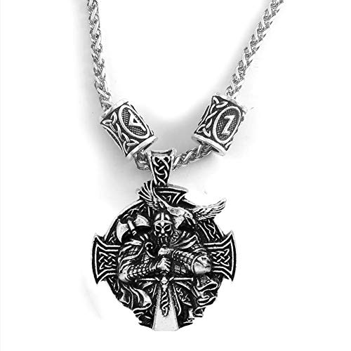 NICEWL Viking Odin Cross Pendant Futhark Rune Beads Necklace,Nordic Runic Ravens Axe Celtic Knot Totem Amulet,Vintage Charm Norse Scandinavian Jewelry