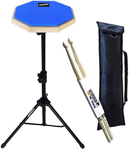 keepdrum DP-BL SET Übungspad Blau mit Stativ und Tasche + Drumsticks 1 Paar