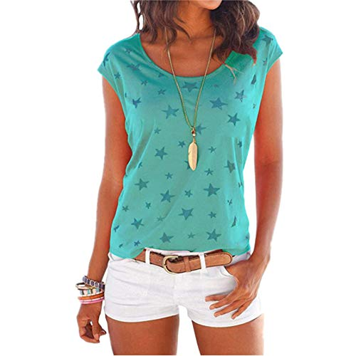 camicia donna verde mela a pois Z&Y Glaa Camicia da Donna a Manica Corta da Donna T-Shirt a Manica Lunga con Scollo a Pois O-Neck Taglia T-Shirt Estiva da Donna Stile Dolce T-Shirt Ampia Girocollo a Maniche Corte con Stampa a