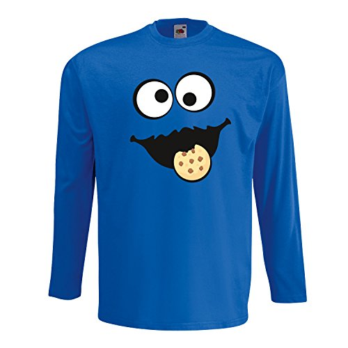 Keks Monster Unisex Langarm-Shirt Gruppen Kostüm Karneval Verkleidung Party JGA Royal Blue XL